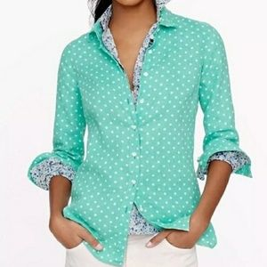 J. Crew Aqua & White Polka Dot Button Down Shirt